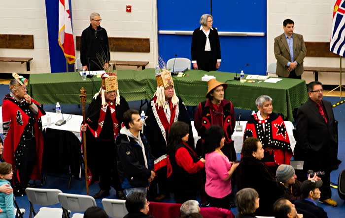 Haisla chiefs appear before the Joint Review Panel