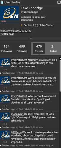 Fake Enbridge twitter postings
