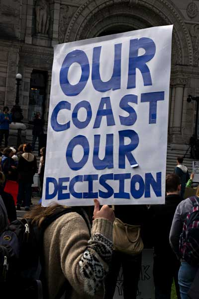 Protest sign  Our Coast Our Decision