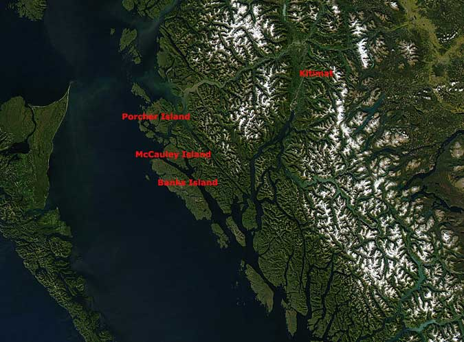 Satellite map of BC showing Kitimat and wind farm locations