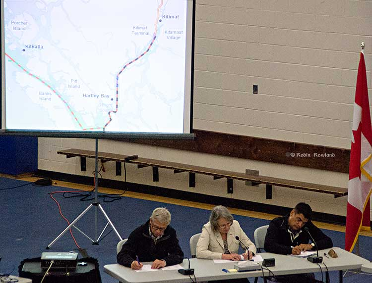 Members of the Joint Review panel make notes at Kitamaat Village (Robin Rowland)