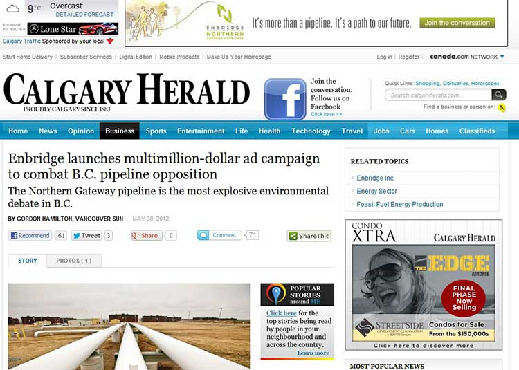 Calgary Herald web page with Enbridge ad