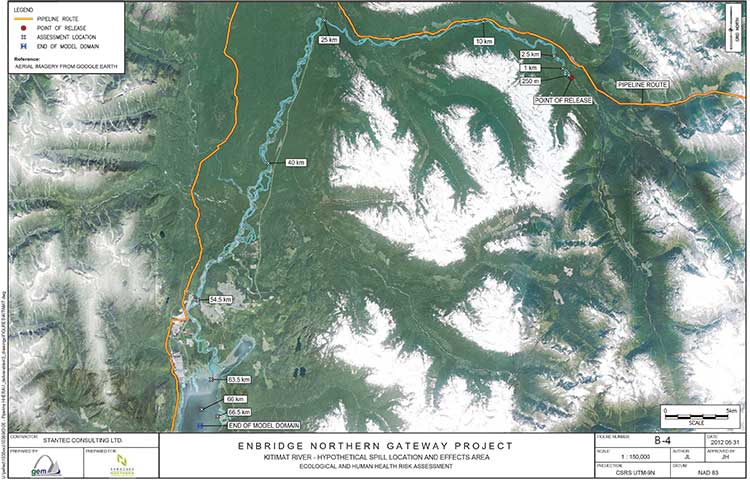 Kitimat River map from Enbridge study