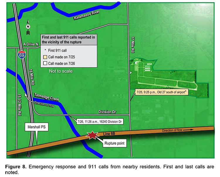 NTSB map of first responders at Kalamazoo spill
