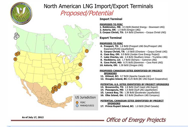 US FERC Map of LNG terminals in North America