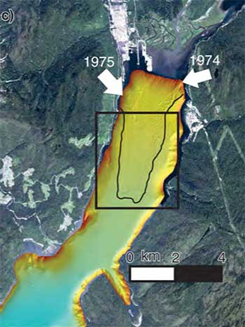 Map of slides at Kitimat