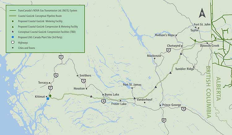 gas pipeline to kitimat coastal gaslink map