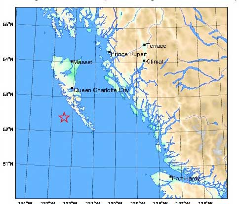 Natural Resources Canada map showing its call on the location of the Oct. 31 aftershock.
