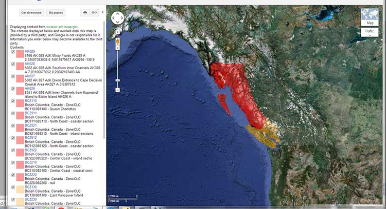 Alaska BC tsunami warning map