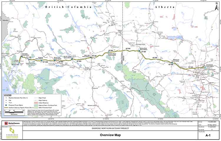 Revised Northern Gateway pipeline route map