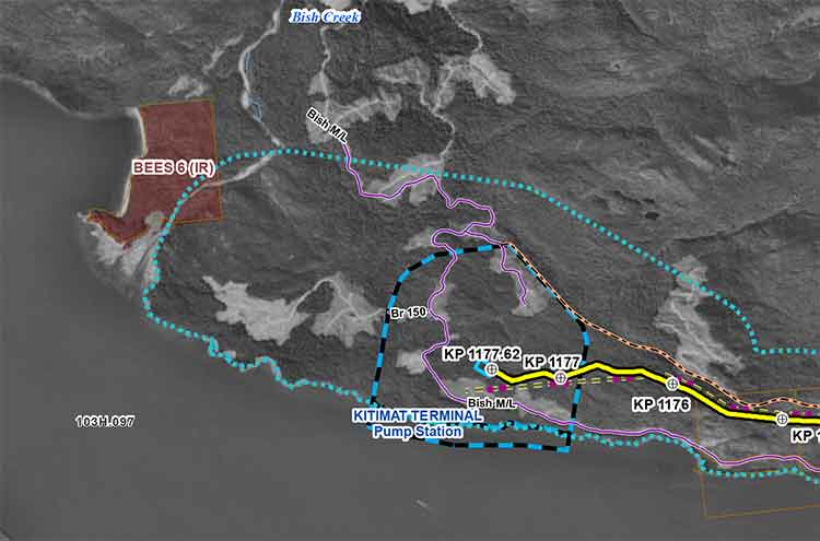 Revised Enbridge map of Kitimat harbour.