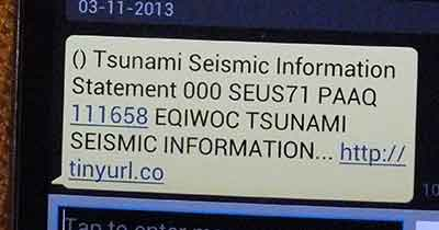 SMS earthquake warning