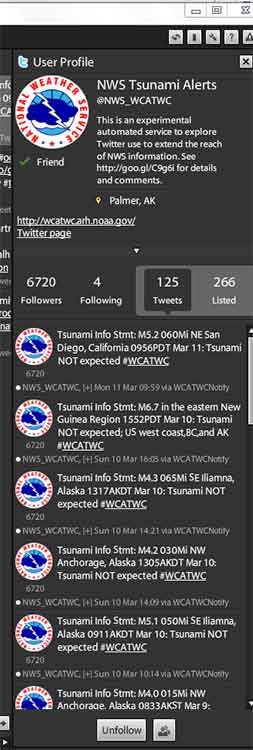 Tweetdeck tsunami warnings