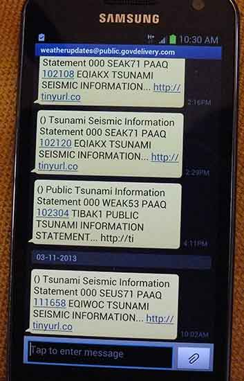 Tsunami warnings on my phone