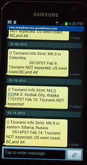 tsunami warning on phone