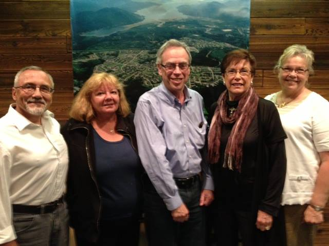 Natural Resources Minister Joe Oliver (centre) meets District of Kitimat Councillors, left to right, Rob Goffinet, Mary Murphy, Mayor Joanne Monaghan and Councillor Corrine Scott. (District of Kitimat)