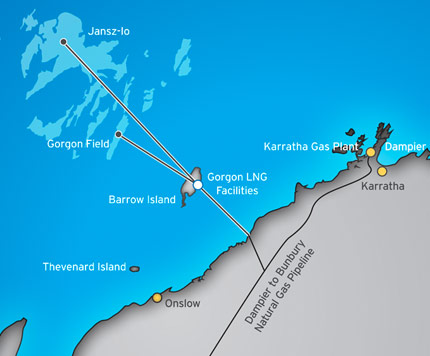 The Gorgon project in the northwestern area of Western Australia. (Chevron Australia)