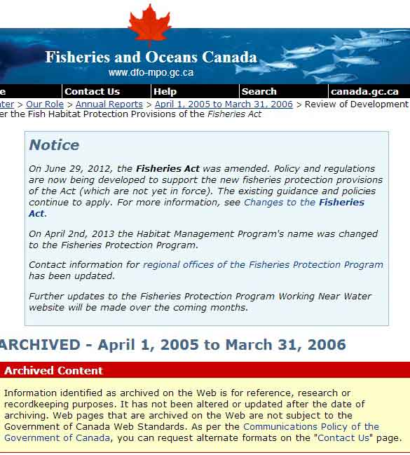 DFO website cites pending changes after the passage of the omnibus bills.