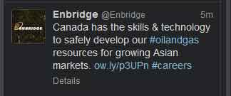 Enbridge tweet Sept. 20, 2013