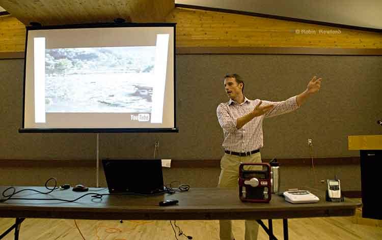 Teron Moore explaining a tsunami