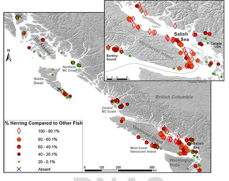 Map of First Nations sites with fish bones