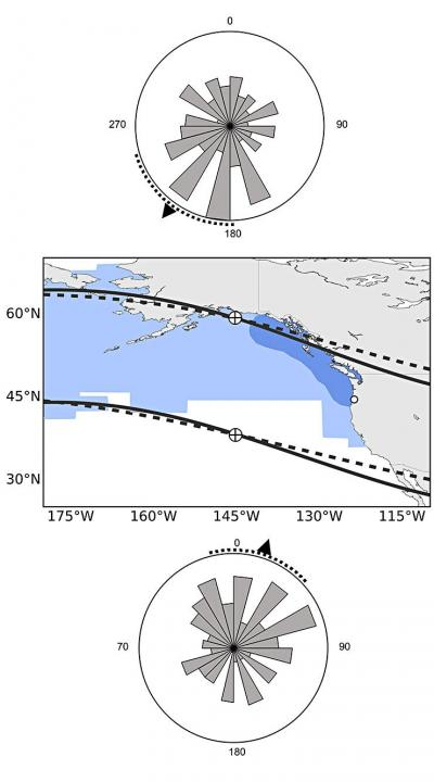 "Map showing the ocean range of Chinook salmon and how the fish sense magnetic fields.  Fish with a ""northern orientation"" swim south and vice versa. (University of Oregon)"