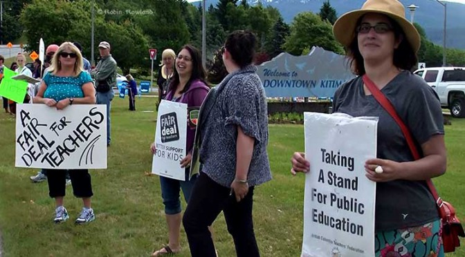 "Monaghan slams Douglas Channel Watch for ""disrespectful"" demonstration as striking teachers picket Christy Clark"