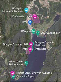 Map of current LNG and other projects in the Kitimat area from the BC airshed report. (Environment BC)