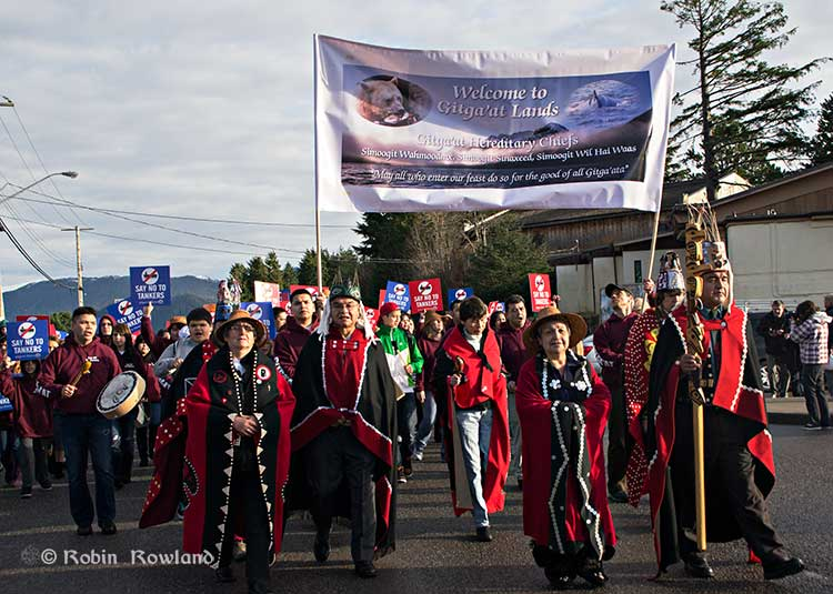 Traditional leaders of the Gitga'at First Nation lead a protest march through the streets of Prince Rupert, February 4, 2012. (Robin Rowland/Northwest Coast Energy News)