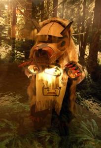 Bear totem at UNBC