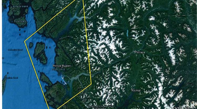Area of the proposed Prince Rupert air shed study. (Environment BC)