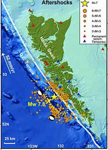 Map showing the pattern of aftershocks following the October 2012 Haida Gwaii earthquake. (Bulletin of the Seismological Society of America)