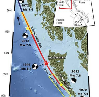 Map showing the pattern of earthquakes along the Queen Charlotte Fairweather Fault system and the location of the Queen Charlotte Terrace.  (Bulletin of the Seismological Society of America)