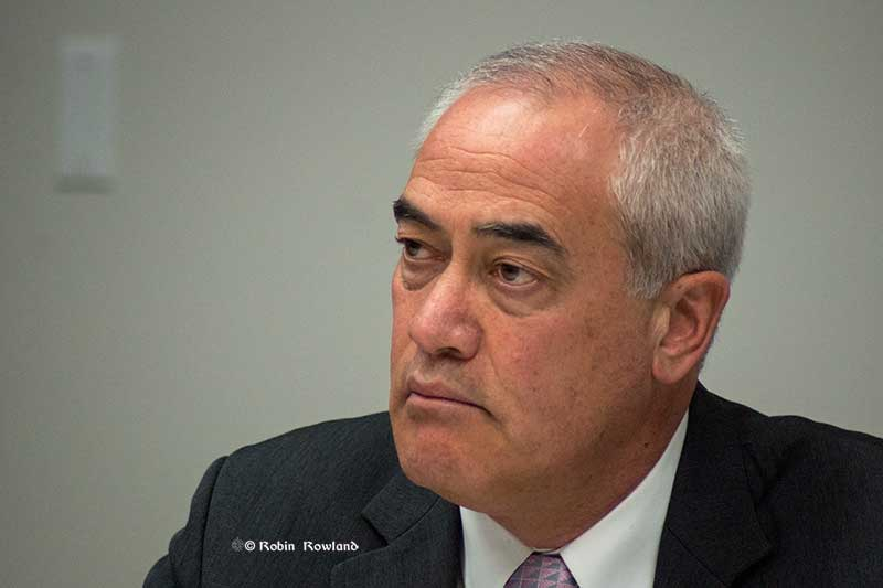 District Chief Administrative Officer  Ron Poole at Monday's council meeting (Robin Rowland/Northwest Coast Energy News)
