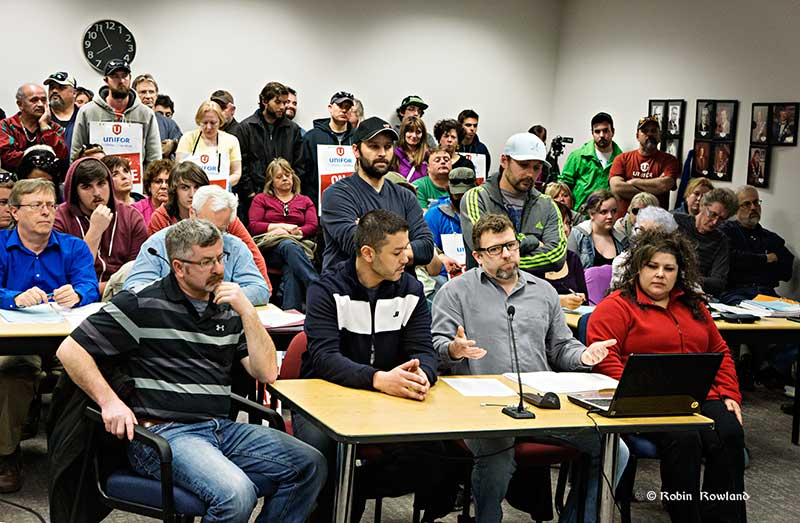 The Unifor 2300 bargaining team makes it case before District of Kitimat Council, Tuesday, April 7, 2015. (Robin Rowland/Northwest Coast Energy News)