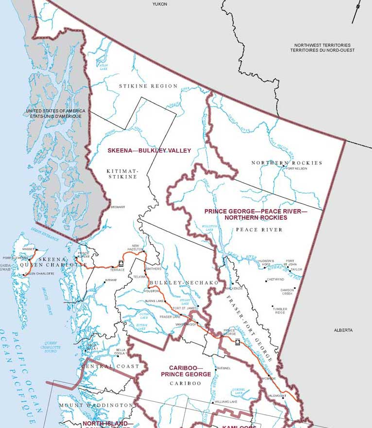 Elections Canada map showing just how big the two northern BC ridings are.  (Elections Canada)