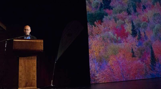 Haisla Chief Counsellor Ellis Ross speaks at Mt. Elizabeth Theatre,  June 9, 2015 (Robin Rowland/Northwest Coast Energy News)