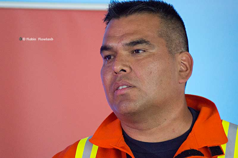 Taylor Cross. Haisla Nation Deputy Chief Counsellor speaks to the First Metal Ceremony, July 7. 2015 (Robin Rowland/Northwest Coast Energy News)
