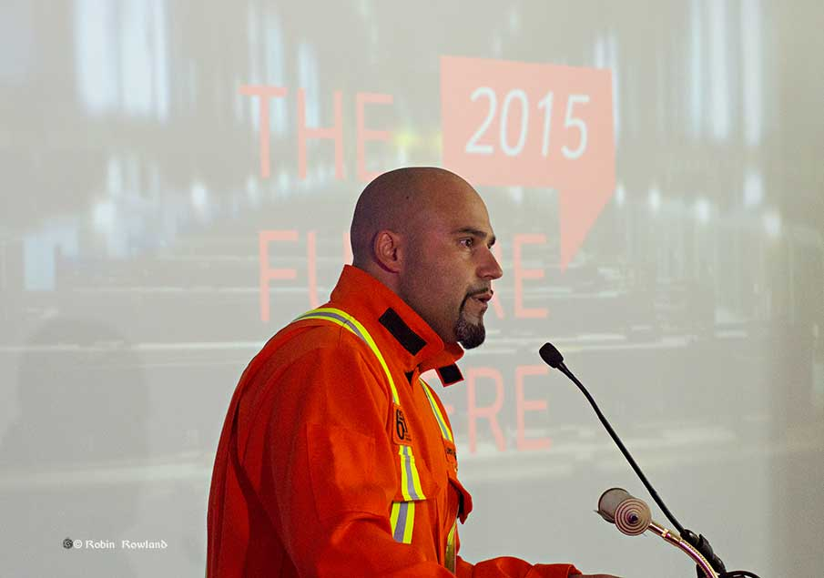 BC Operations Manager Gaby Poirier addresses the First Metal Ceremony in Kitimat, July 7, 2015  (Robin Rowland/Northwest Coast Energy News)