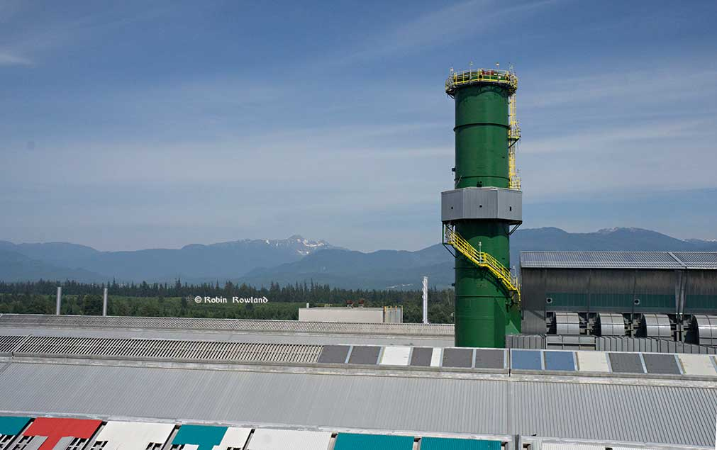 A view of Mt. Elizabeth with the gas treatment stack in the foreground. (Robin Rowland/Northwest Coast Energy News)