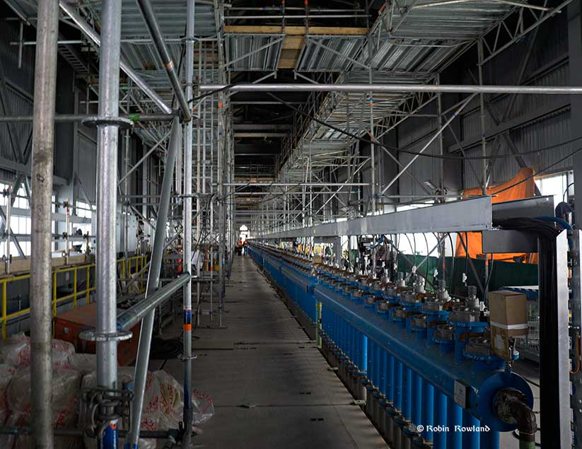 Inside the gas treatment plant at the smelter. (Robin Rowland/Northwest Coast Energy News)