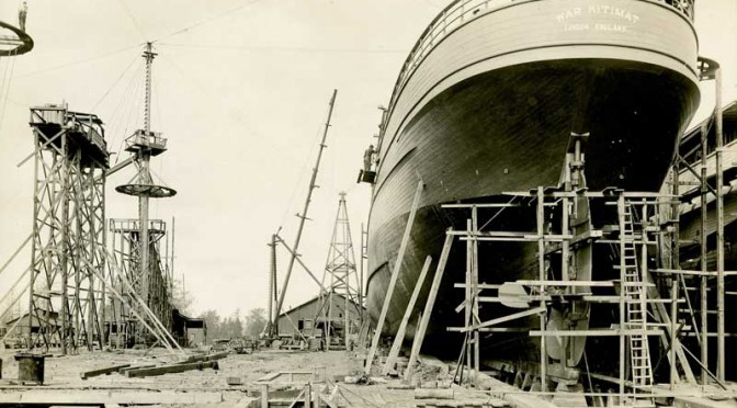 The War Kitimat under construction in New Westminster (Canadian War Museum)
