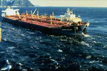 The Exxon Valdez aground on Bligh Reef in Prince William Sound in May 1989. (NOAA)