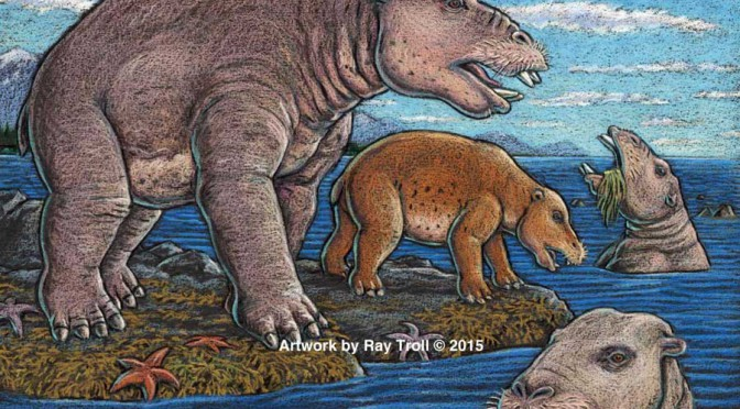 "Strange  ancient  hippo-like Pacific coast mammal ""vacuumed""  shoreline plant life"