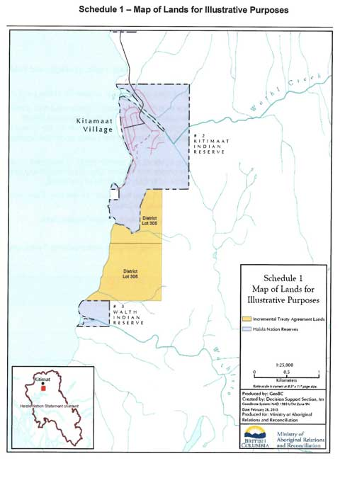 Map from the treaty agreement showing the lands transferred back to the Haisla Nation. (Ministry of Aboriginal Relations and Reconciliation)