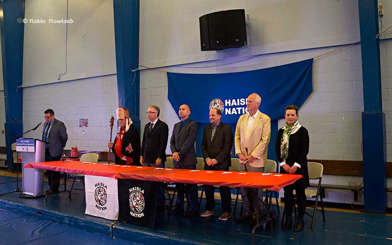 The incremental treaty ceremony begins at the Haisla Recreation Centre (Robin Rowland/Northwest Coast Energy News)