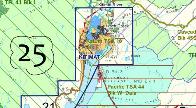 Kitimat portion of FSR radio protocal map.(Forests, Lands and Natural Resource Operations)