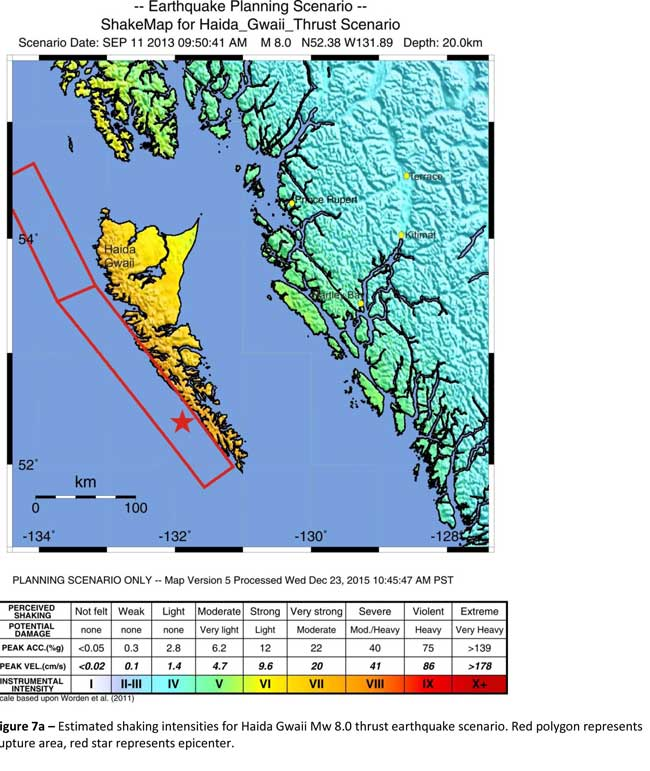 The Geological Survey Canada model for an 8.0 magnitude earthquake west of Haida Gwaii. The possible damage is colour coded in the table below the map according to the Modified Mercalli Intensity Scale (Geological Survey of Canada)