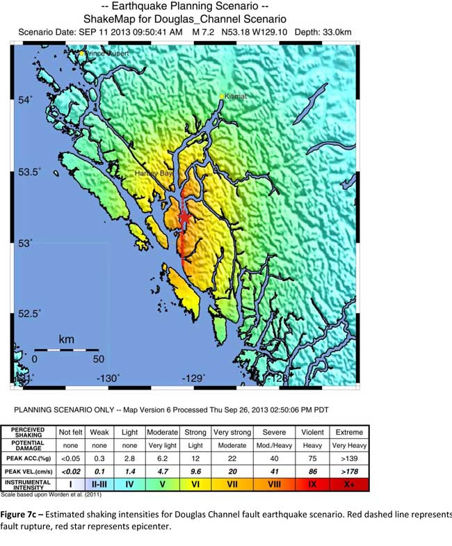 The Geological Survey Canada model for a 7/2 magnitude earthquake in the lower Douglas Channel. The possible damage is colour coded in the table below the map according to the Modified Mercalli Intensity Scale. The red star represents the possible epicentre. (Geological Survey of Canada)