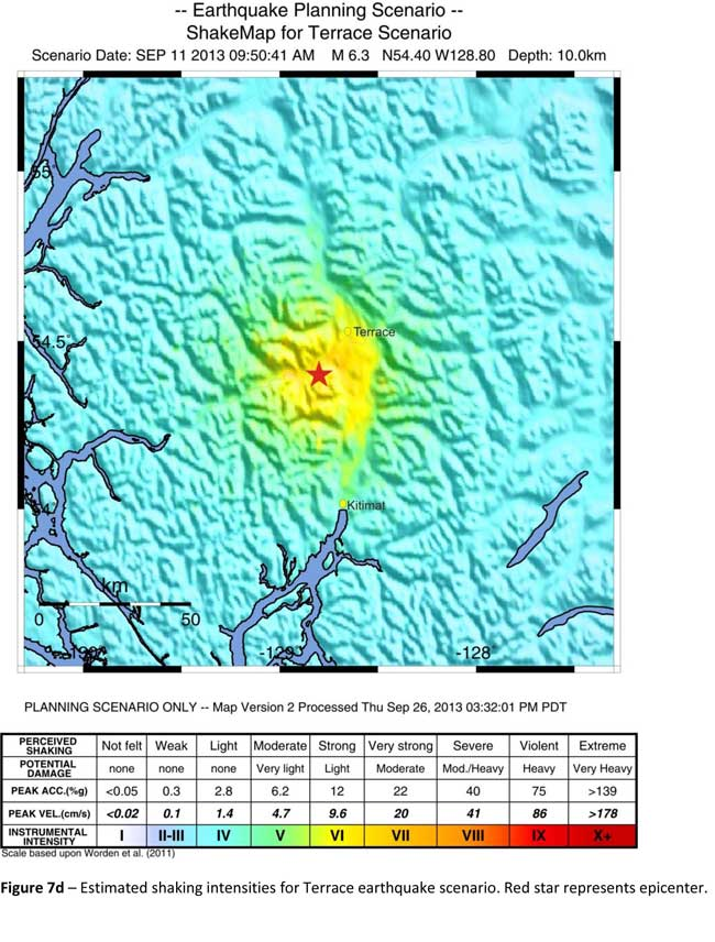 The Geological Survey Canada model for an 6.3 magnitude earthquake southwest of Terrace. The possible damage is colour coded in the table below the map according to the Modified Mercalli Intensity Scale. The red polygon represents the area of possible rupture in the model with the star representing the epicentre. (Geological Survey of Canada)
